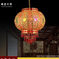 灯具LED红灯笼 中式阳台自动旋转灯笼创意七彩水晶吊灯