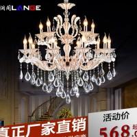 澜阁欧式奢华S金双色锌合金蜡烛K9水晶吊灯客厅酒店餐厅灯饰灯