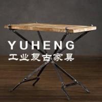 美式复古实木铁艺餐桌椅 客厅餐桌酒吧桌办公桌咖啡桌 可拆御桌子