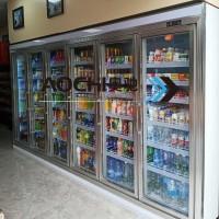 奥驰冷链四门饮料柜超市立式冷柜风冷展示柜冷藏保鲜陈列柜
