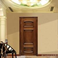 简约中式原木门 复合实木手动平开门 多色可选 隔音卧室木门