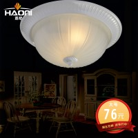 欧式田园白色锌合金磨砂玻璃罩现代圆形客厅灯卧室灯阳台吸顶灯具