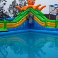豹伟水上漂浮玩具 水上充气滑梯支架水池定做水上乐园规划