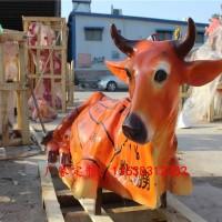 康大雕塑定做 玻璃钢黄牛雕塑玻璃钢家禽雕塑