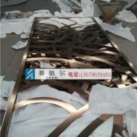 南京不锈钢落地屏风 玫瑰金拉丝激光雕花 落地不锈钢屏风